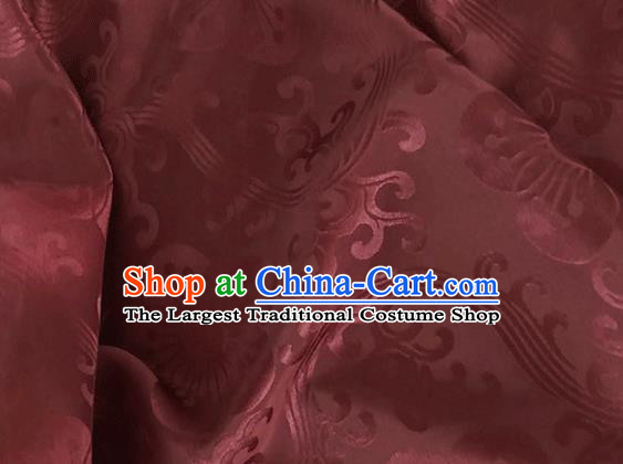 Asian Chinese Traditional Plum Pattern Design Wine Red Brocade China Hanfu Satin Fabric Material