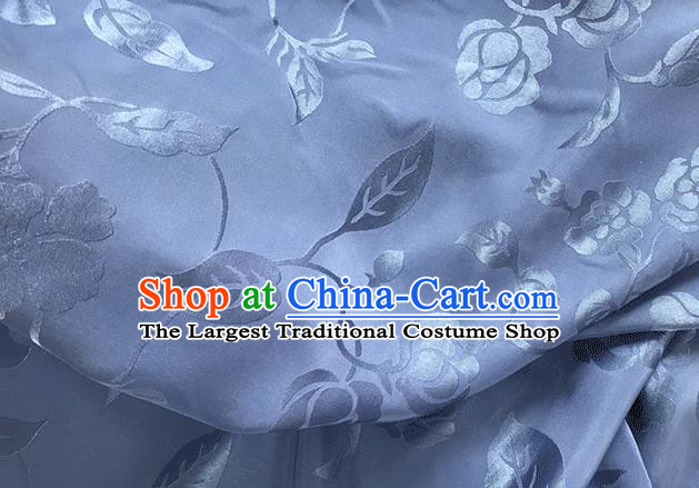 Asian Chinese Traditional Twine Pattern Design Blue Brocade China Hanfu Satin Fabric Material