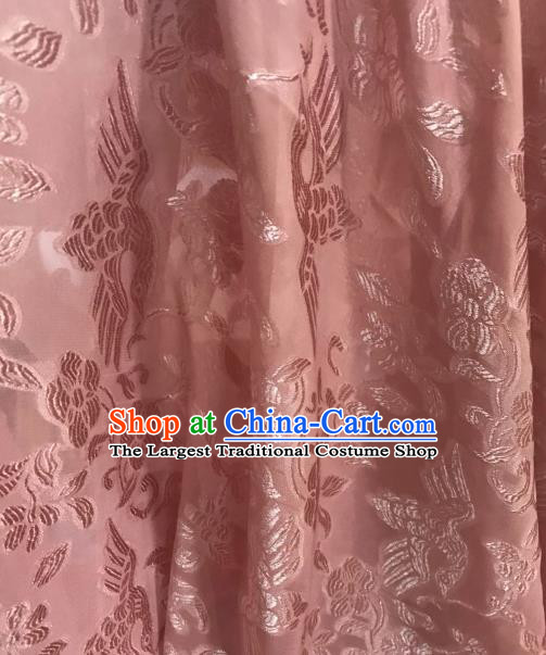 Asian Chinese Traditional Flowers Birds Pattern Design Deep Pink Chiffon China Hanfu Fabric Material