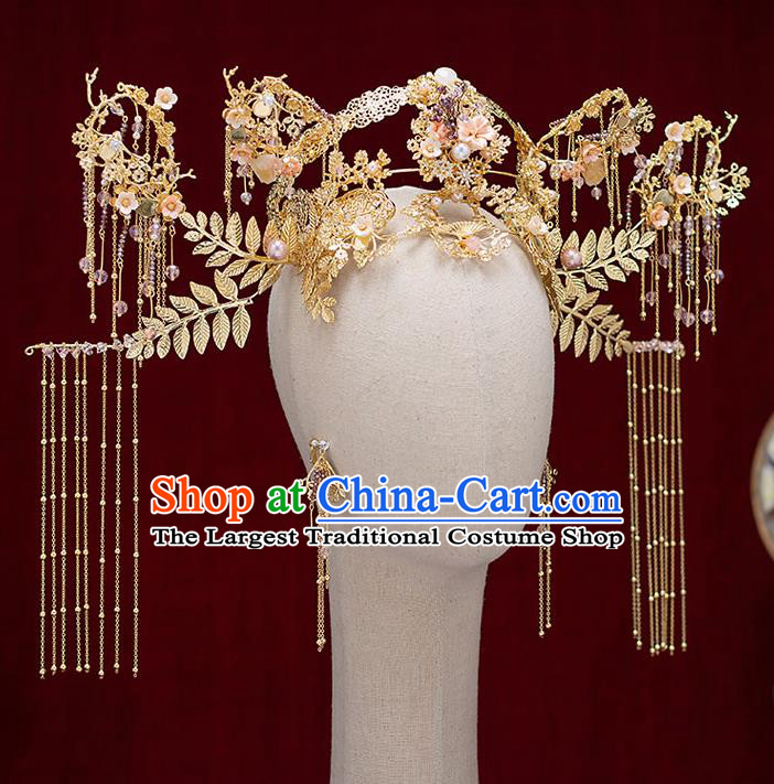 Top Chinese Traditional Bride Deluxe Phoenix Coronet Handmade Hairpins Wedding Hair Accessories Complete Set
