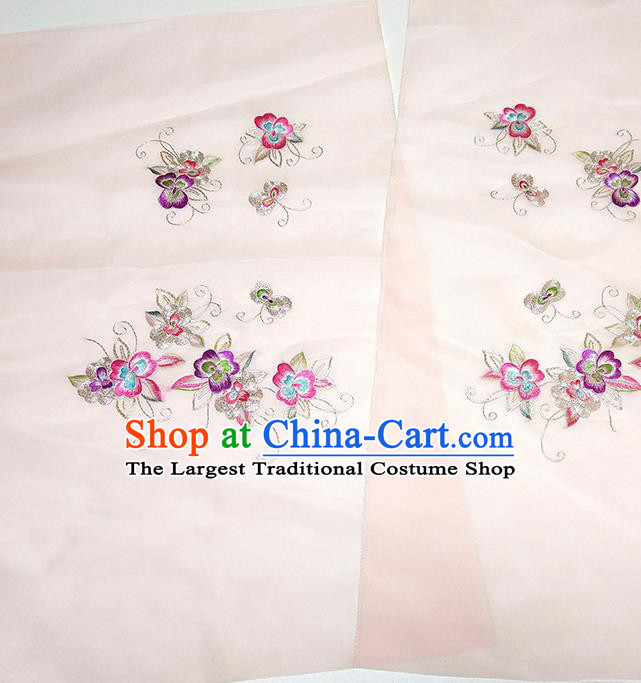 Asian Chinese Traditional Embroidered Pattern Design Light Pink Silk Fabric China Hanfu Silk Material