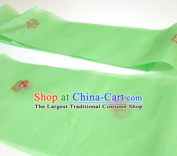 Asian Chinese Traditional Embroidered Plum Pattern Design Green Silk Fabric China Hanfu Silk Material
