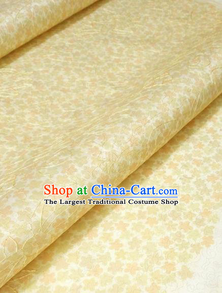 Asian Chinese Traditional Embroidered Pattern Design Yellow Silk Fabric China Hanfu Silk Material