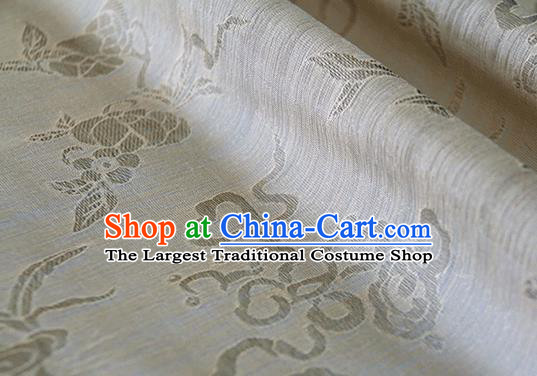 Asian Chinese Traditional Auspicious Pattern Design Beige Brocade China Hanfu Silk Fabric Material