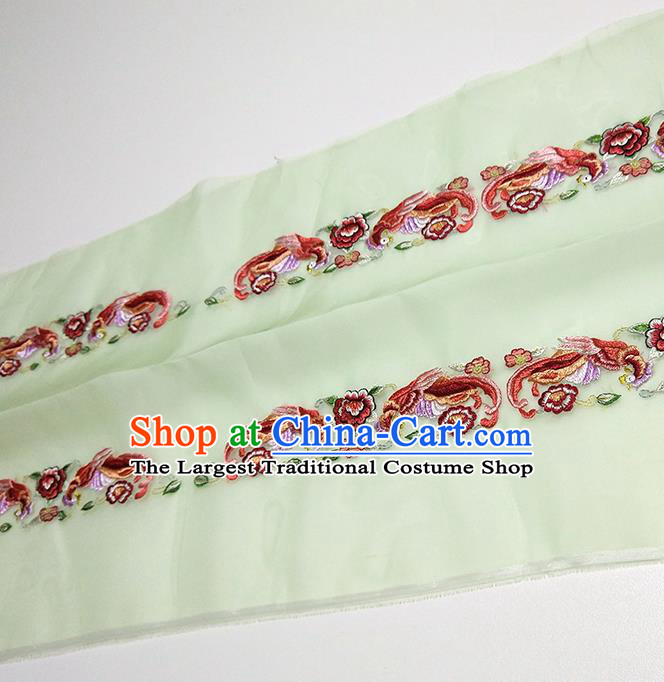 Asian Chinese Traditional Embroidered Phoenix Peony Pattern Design Light Green Silk Fabric China Hanfu Silk Material