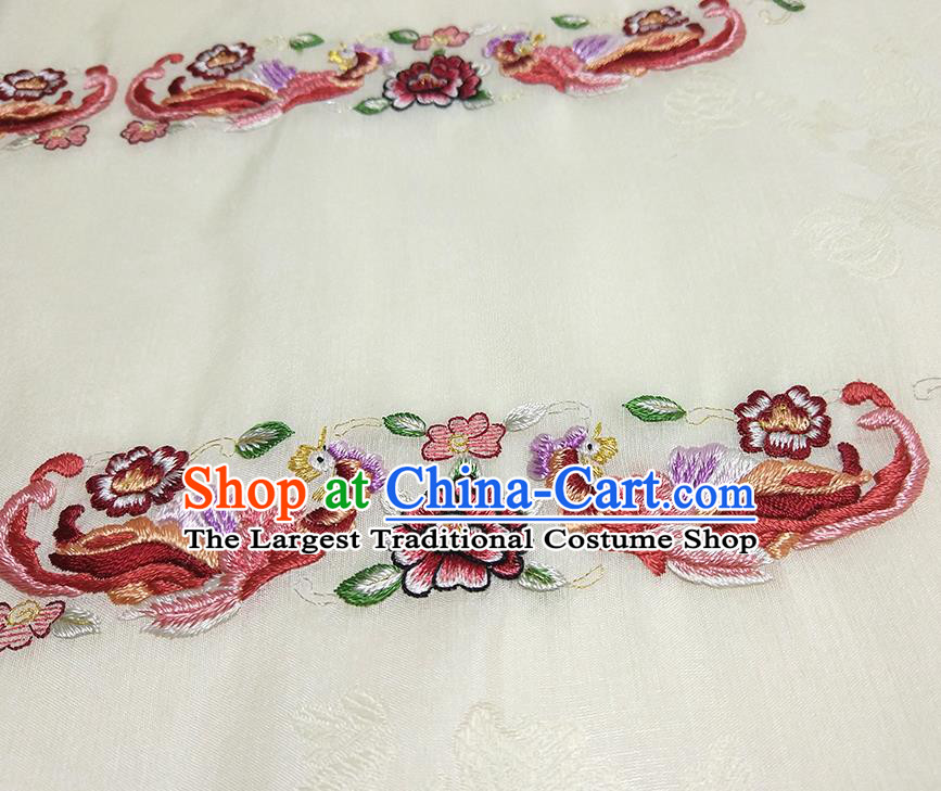 Asian Chinese Traditional Embroidered Phoenix Peony Pattern Design Light Yellow Silk Fabric China Hanfu Silk Material