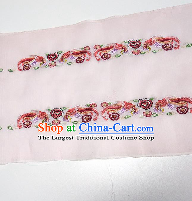 Asian Chinese Traditional Embroidered Phoenix Peony Pattern Design Light Pink Silk Fabric China Hanfu Silk Material
