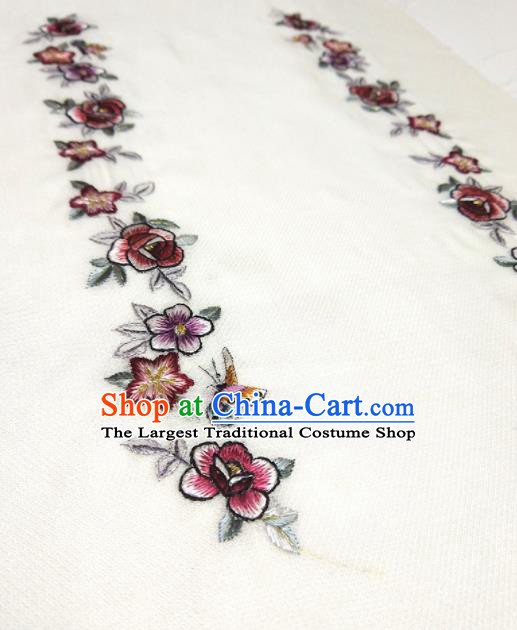 Asian Chinese Traditional Embroidered Butterfly Flowers Pattern Design White Silk Fabric China Hanfu Silk Material