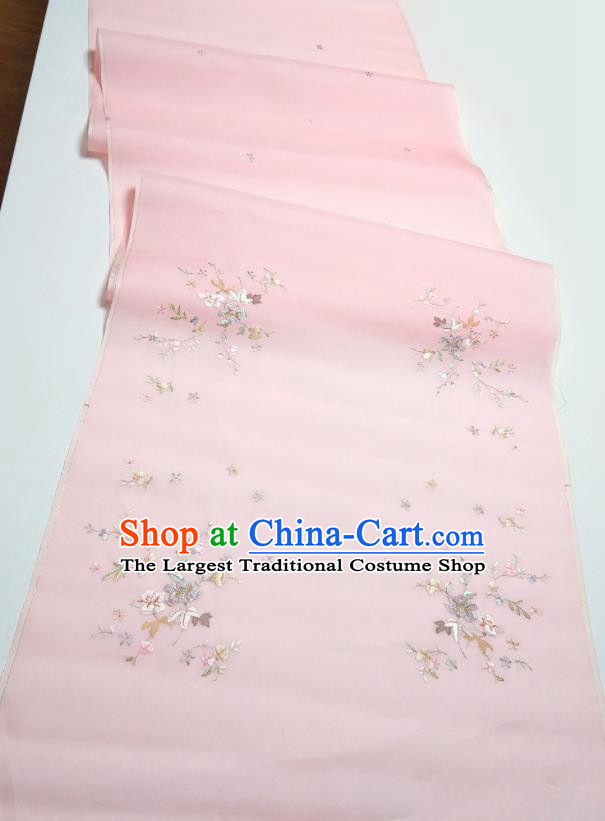 Asian Chinese Traditional Embroidered Petunia Pattern Design Pink Silk Fabric China Hanfu Silk Material