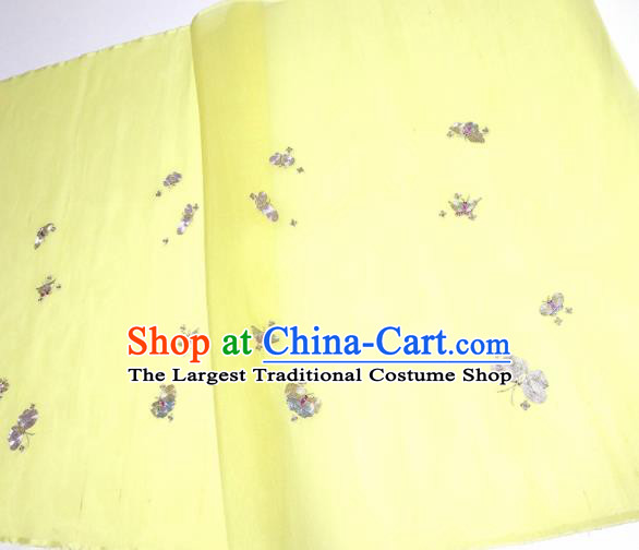 Asian Chinese Traditional Embroidered Butterfly Pattern Design Light Yellow Silk Fabric China Hanfu Silk Material
