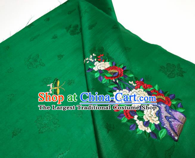 Asian Chinese Traditional Embroidered Peony Butterfly Pattern Design Green Silk Fabric China Hanfu Silk Material