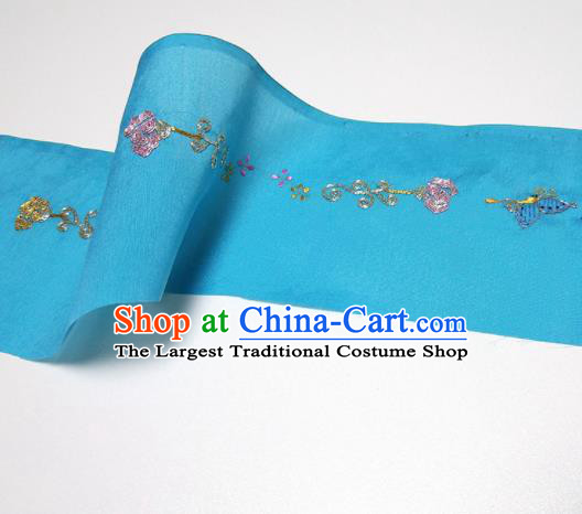 Asian Chinese Traditional Embroidered Butterfly Pattern Design Blue Silk Fabric China Hanfu Silk Material