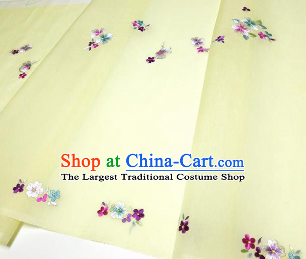 Asian Chinese Traditional Embroidered Butterfly Flowers Pattern Design Yellow Silk Fabric China Hanfu Silk Material