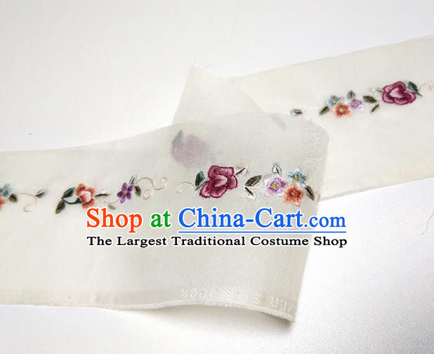 Asian Chinese Traditional Embroidered Flowers Pattern Design White Silk Fabric China Hanfu Silk Material