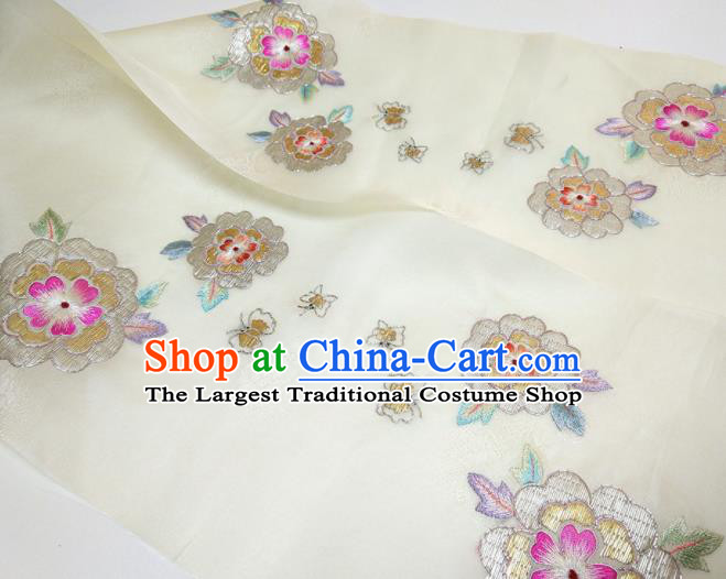 Asian Chinese Traditional Embroidered Camellia Pattern Design White Silk Fabric China Hanfu Silk Material