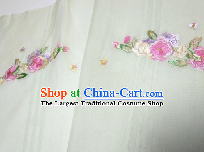 Asian Chinese Traditional Embroidered Camellia Pattern Design Light Green Silk Fabric China Hanfu Silk Material