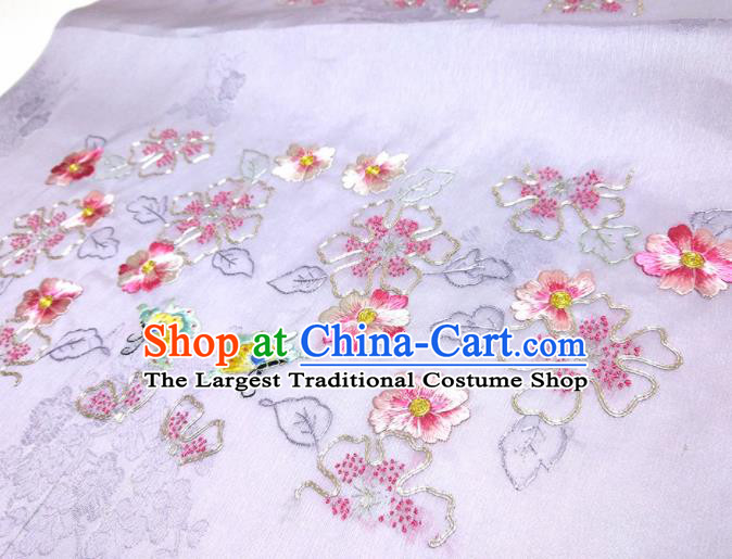 Asian Chinese Traditional Embroidered Flowers Butterfly Pattern Design Lilac Silk Fabric China Hanfu Silk Material