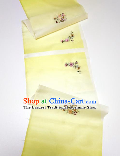 Asian Chinese Traditional Embroidered Flowers Pattern Design Light Yellow Silk Fabric China Hanfu Silk Material