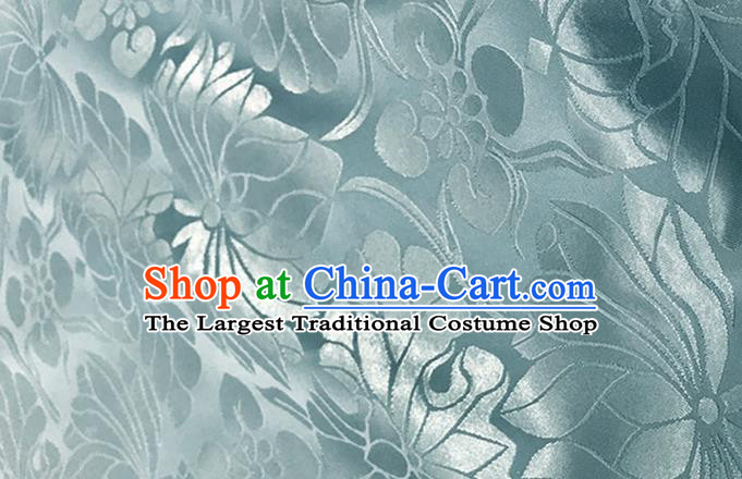 Asian Chinese Traditional Lotus Pattern Design Blue Brocade China Hanfu Satin Silk Fabric Material