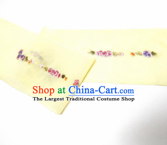 Asian Chinese Traditional Embroidered Peony Pattern Design Light Yellow Silk Fabric China Hanfu Silk Material