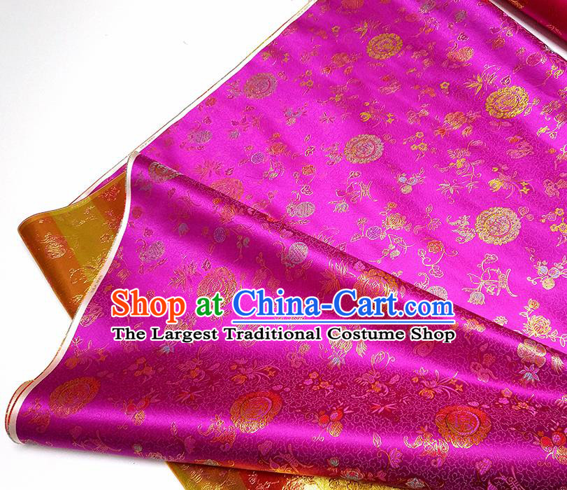 Asian Chinese Traditional Bamboo Peony Pattern Design Rosy Brocade Silk Fabric China Hanfu Satin Material