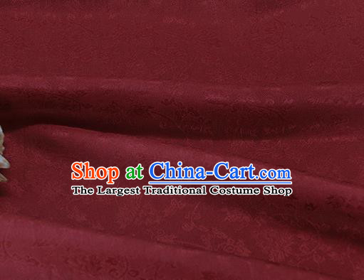 Asian Chinese Traditional Twine Albizia Pattern Design Wine Red Silk Fabric Chinese Qipao Material