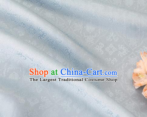 Asian Chinese Traditional Kaki Pedicle Pattern Design Light Blue Silk Fabric China Qipao Material