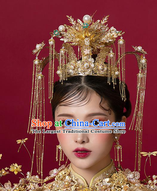 Top Chinese Traditional Bride Golden Luxury Phoenix Coronet Handmade Tassel Hairpins Wedding Hair Accessories Complete Set