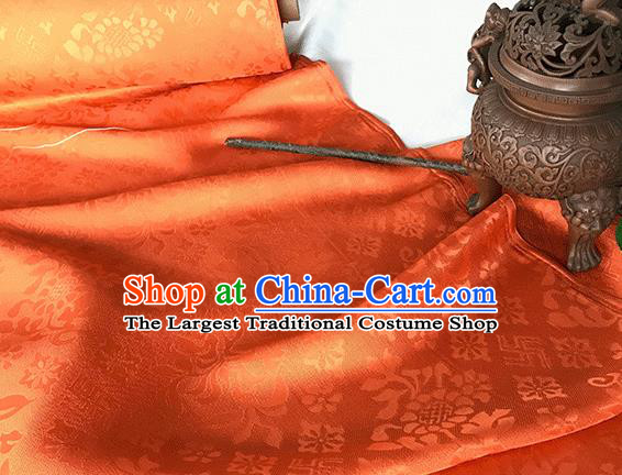 Asian Chinese Traditional Broken Branches Pattern Design Orange Silk Fabric China Qipao Material