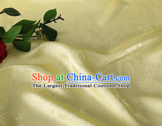 Asian Chinese Traditional Bamboo Leaf Pattern Design Light Yellow Silk Fabric China Qipao Material