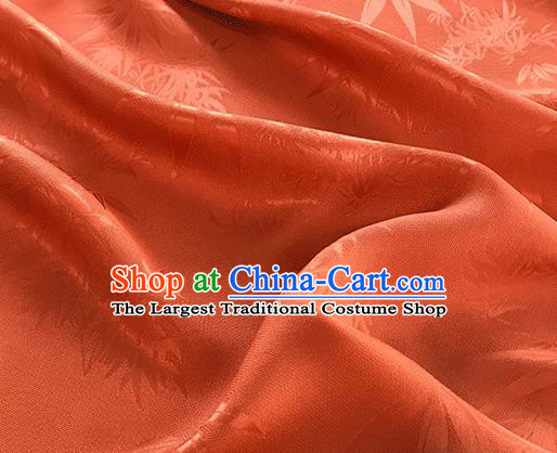 Asian Chinese Traditional Bamboo Leaf Pattern Design Deep Orange Silk Fabric China Qipao Material