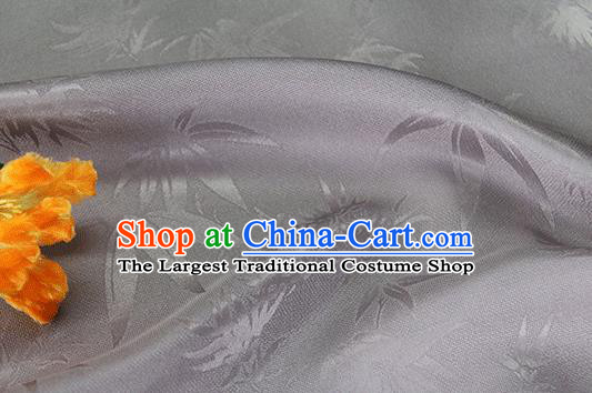 Asian Chinese Traditional Bamboo Leaf Pattern Design Grey Silk Fabric China Qipao Material