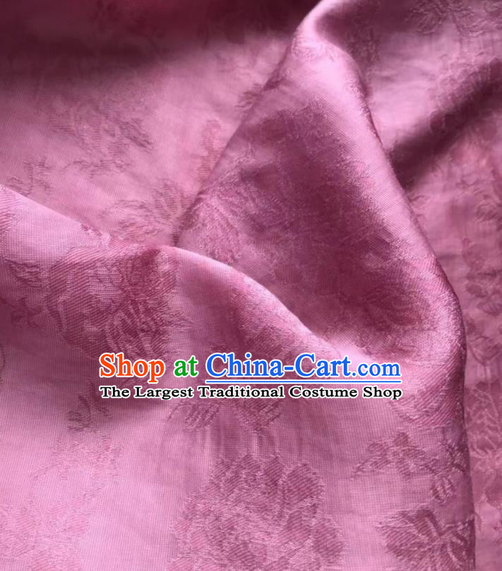 Asian Chinese Traditional Jacquard Peony Pattern Design Rosy Silk Fabric China Qipao Material