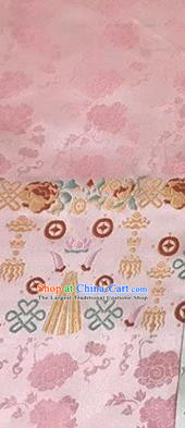 Asian Chinese Traditional Wheels Pattern Design Pink Brocade China Hanfu Satin Fabric Material