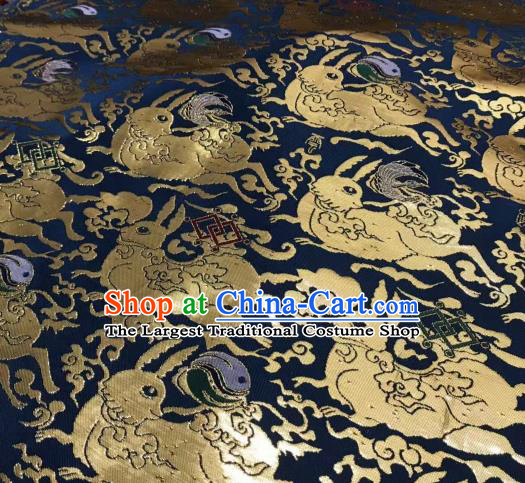 Asian Chinese Traditional Rabbits Pattern Design Deep Blue Brocade China Hanfu Satin Fabric Material