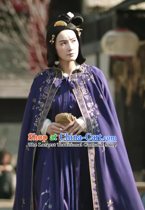 Chinese Ancient Tang Dynasty Woman Purple Dress Drama the Longest Day in Chang An Replica Costumes and Headpiece Complete Set