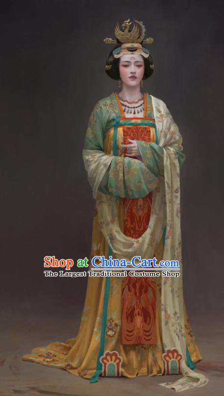 Chinese Ancient Tang Dynasty Palace Lady Dress Drama the Longest Day in Chang An Wang Yunxiu Replica Costumes and Headpiece Complete Set