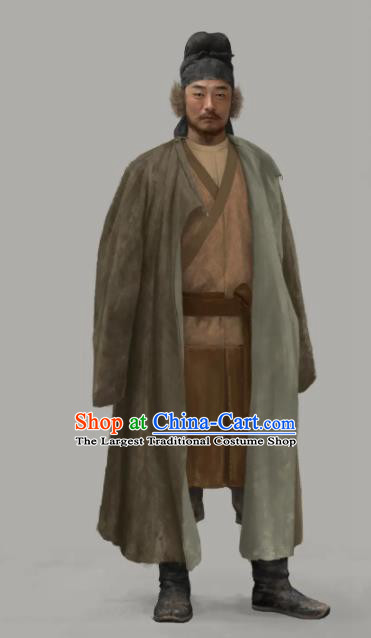 Chinese Drama the Longest Day in Chang An Ancient Tang Dynasty Ethnic Civilian Replica Costumes and Hat Complete Set