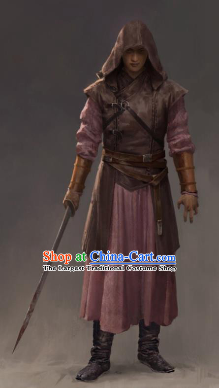 the Longest Day in Chang An Chinese Ancient Assassin Tang Dynasty Swordsman Replica Costumes and Hat Complete Set