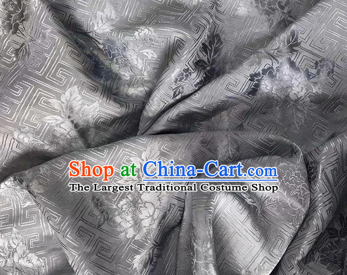 Asian Chinese Traditional Peony Pattern Design Grey Brocade China Hanfu Satin Fabric Material