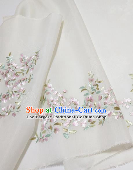 Asian Chinese Traditional Embroidered Flos Sophorae Pattern Design White Silk Fabric China Hanfu Silk Material