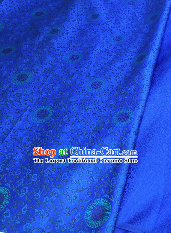 Asian Chinese Traditional Round Flowers Pattern Design Royalblue Brocade Silk Fabric China Hanfu Satin Material