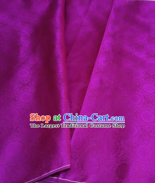 Asian Chinese Traditional Round Flowers Pattern Design Purple Brocade Silk Fabric China Hanfu Satin Material