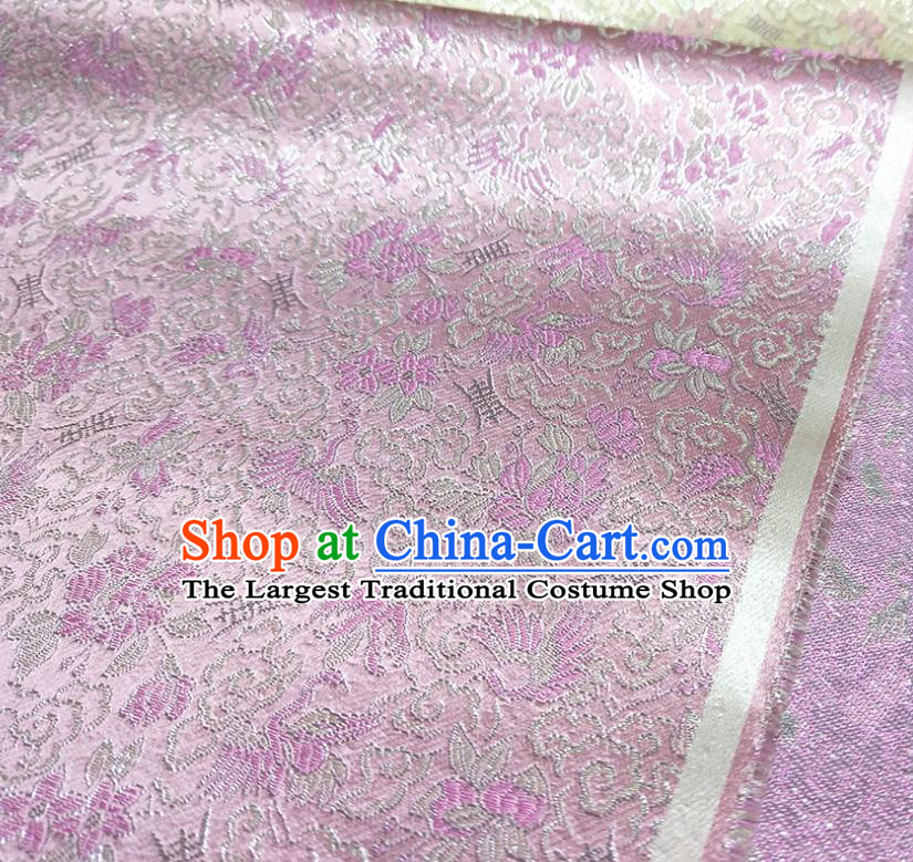 Asian Chinese Traditional Crane Pattern Design Pink Brocade Silk Fabric China Hanfu Satin Material
