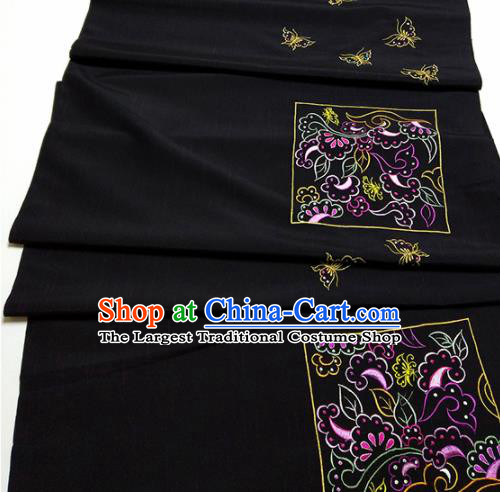 Asian Chinese Traditional Embroidered Butterfly Pattern Design Black Silk Fabric China Hanfu Silk Material