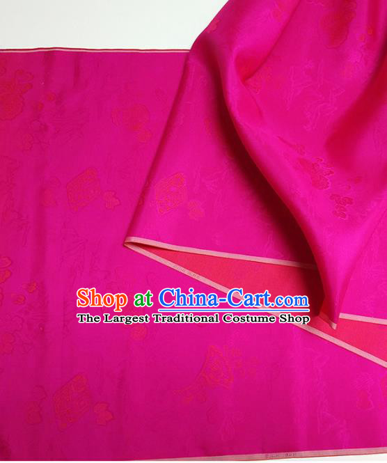 Asian Chinese Traditional Ginkgo Pattern Design Rosy Silk Fabric China Hanfu Silk Material