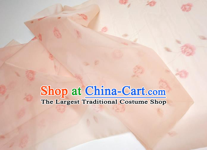 Asian Chinese Traditional Roses Pattern Design Light Pink Silk Fabric China Hanfu Silk Material