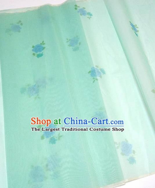 Asian Chinese Traditional Roses Pattern Design Light Green Silk Fabric China Hanfu Silk Material