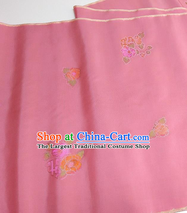 Asian Chinese Traditional Flowers Pattern Design Pink Silk Fabric China Hanfu Silk Material