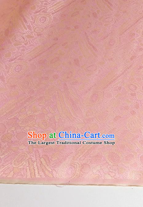 Asian Chinese Traditional Pattern Design Pink Brocade Silk Fabric China Hanfu Satin Material